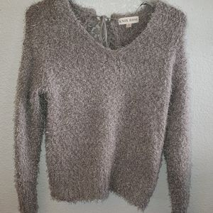 NWOT Lace Back Fluffy Sweater